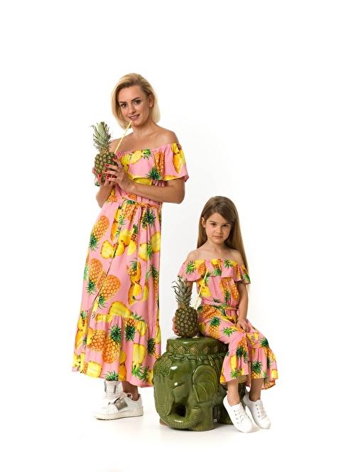 Familylook Kayık Yaka Volanlı Uzun Elbise Pembe